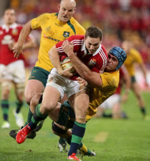 Danger man: George North in action for the British and Irish Lions.
