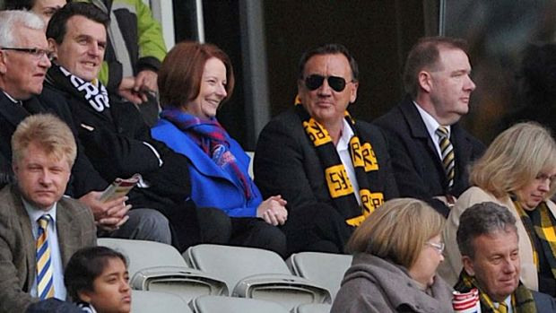 Julia Gillard and Tim Mathieson at the Bulldogs-Richmond game on August 12, 2012.