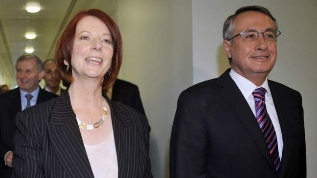 Abrupt change: Julia Gillard and Wayne Swan after her overthrow of Kevin Rudd in 2010.