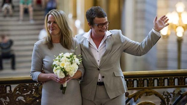 Just married: Sandy Stier, left, and Kris Perry after being married in City Hall in San Francisco.