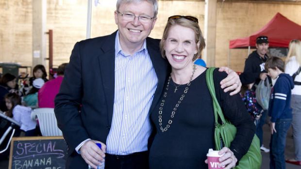 Prime Minister Kevin Rudd meets with former staffer Councillor Shayne Sutton at the Norman Park State School Fete in ...