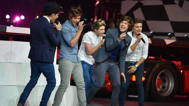 One Direction. Left to right, Zayn Malik, Louis Tomlinson, Niall Horan, Harry Styles and Liam Payne.