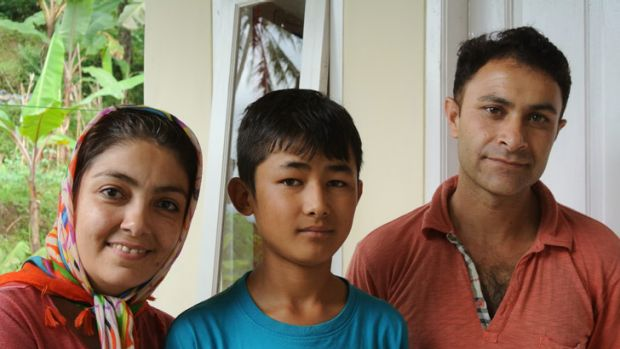 Omid Jafary with his foster family in Bogor.