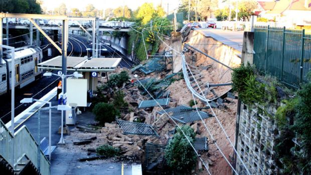 A landslide which hit Harris Park station in Sydney's west on Sunday night.