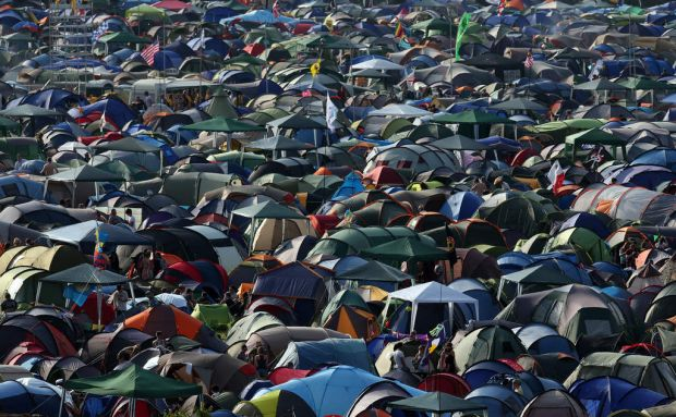 A sea of tents fill the camping fields at the Glastonbury festival.