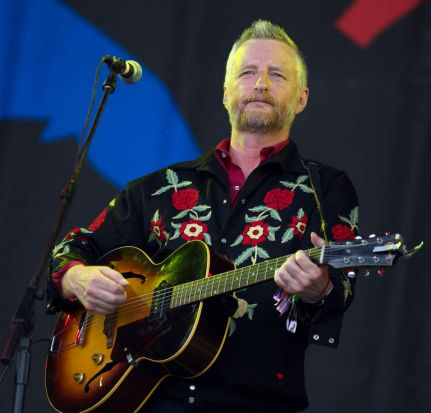 British singer Billy Bragg performs at Glastonbury.