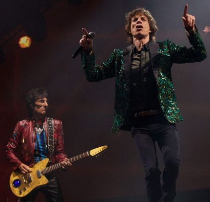 British musicians Mick Jagger (right) and Ron Wood.