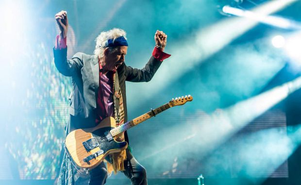 Keith Richards of The Rolling Stones performs during Glastonbury.