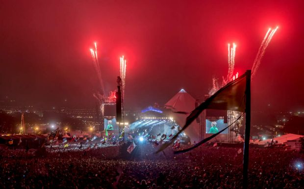 The arena as The Rolling Stones perform at Glastonbury.