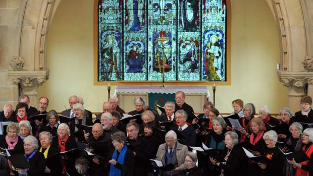 "The U3A Choral Studies Group perform ""Harmonia Monday"" at All Saints Anglican Church, Ainslie on Monday."