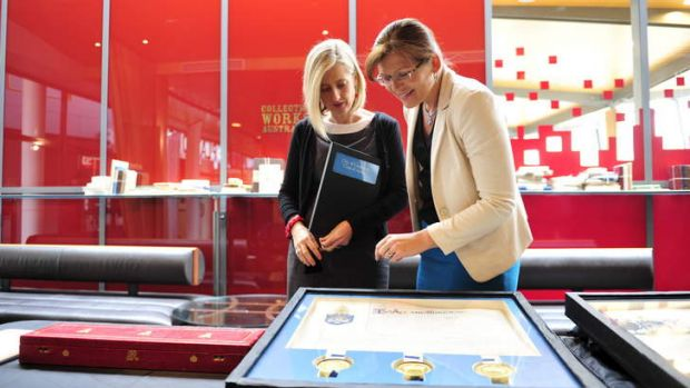 ACT Chief Minister Katy Gallagher and Senator Kate Lundy at the handing over of the Canberra coat of arms on Monday.