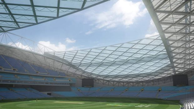 The proposed $250 million revamp of ANZ stadium would include a retractable roof across the ground.