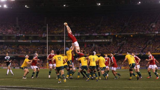 Lineout time:  Alun Wyn Jones of the Lions wins the lineout during game two of the series between the Wallabies and the ...