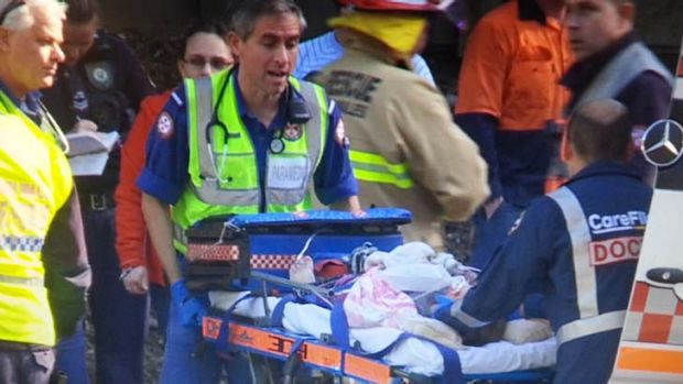 Lucky escape: a young girl was thrown from 10 metres from a car.