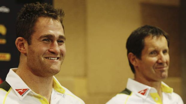 Now we can all get some sleep: Wallabies captain James Horwill, left, fronts the media with coach Robbie Deans after the ...
