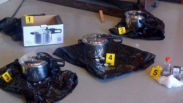 Three pressure cookers recovered outside the British Columbia's provincial legislature building before crowds gathered ...