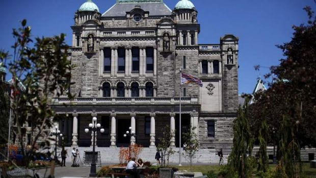 The legislative building in Victoria, British Columbia, Canada.