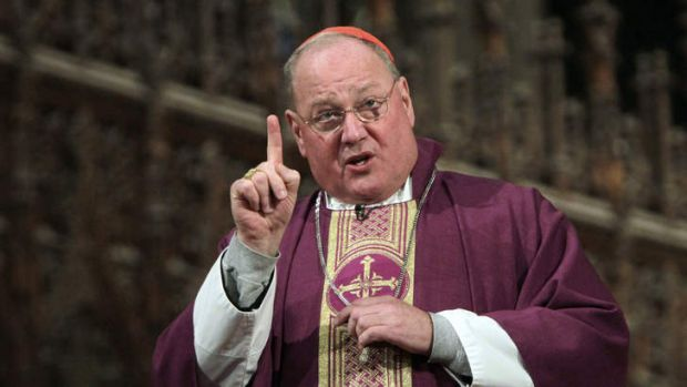 New York Cardinal Timothy Dolan speaks during a mass at St. Patrick's Cathedral in New York.