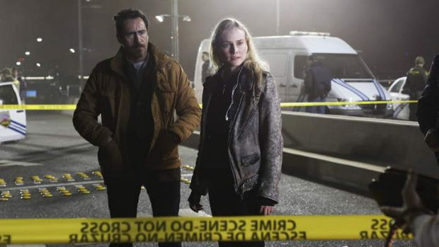 Lives on the line: Marco Ruiz (Demian Bichir) and Sonya Cross (Diane Kruger) star in the US remake of Scandinavian ...