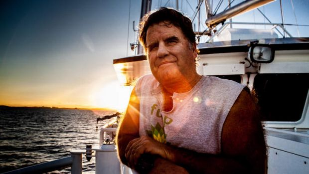 Old salt … Captain Peter Willcox onboard the Rainbow Warrior.