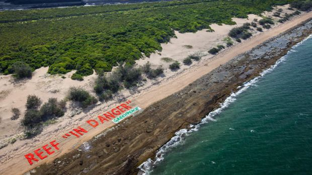 Strong message … Greenpeace makes its point at Abbot Point.