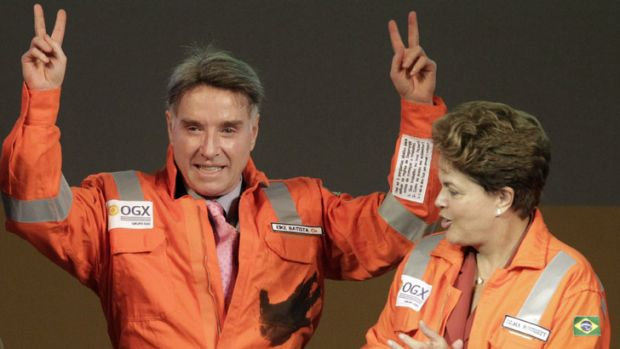 Pressure: Eike Batista - with Brazil's President, Dilma Rousseff, last year.