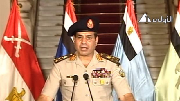 Lt. Gen. Abdel-Fattah el-Sisi addressing the nation on Egyptian State Television.