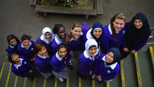 Better days ... Students from Preston Girls Secondary College, pictured in 2010.