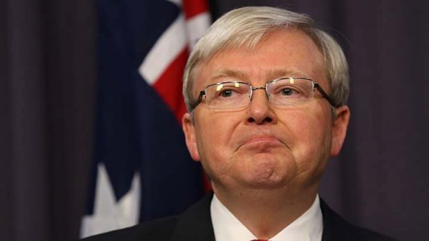 Taking on the unions: Kevin Rudd.