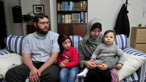 Ahmed El Zein with his  wife Eman El-Sayed and daughters Mariam, 6 and Aaisha 18 months at their home in Harrison talk ...