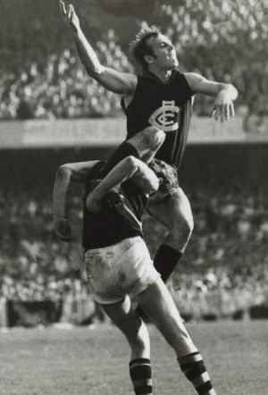 Carlton's Alex Jesaulenko marks over Richmond player Barry Richardson in September 1969.