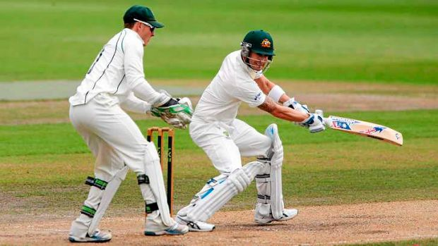 Australia captain Michael Clarke adds some timely runs as he's watched by Worcestershire wicketkeeper Ben Cox during the ...