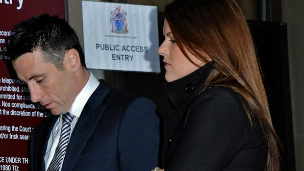 St Kilda footballer Stephen Milne arrives at Melbourne Magistrates Court to face rape charges, accompanied by his wife ...