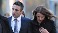 St Kilda footballer Stephen Milne with wife Melissa arrives at Melbourne Magistrates Court to face rape charges.  THE ...