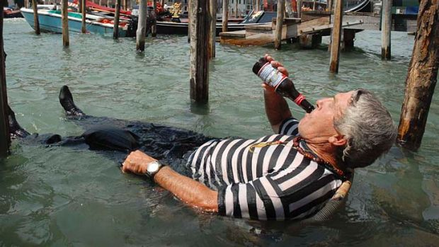Drowning sorrows: Venice's gondoliers are under fire.