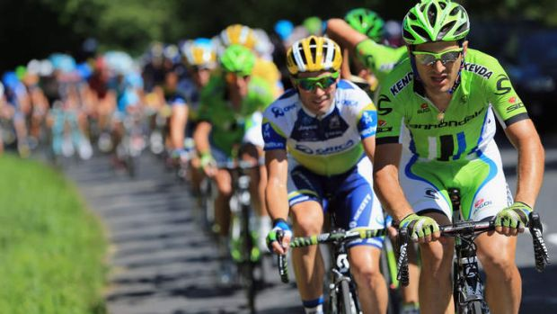 Protecting the yellow jersey: Team Cannondale and Orica-GreenEDGE lead the peloton chase of the breakaway.