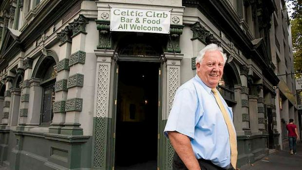 A 2012 photo of the Celtic Club's Seamus  Moloughney standing outside the historic club.