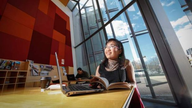 Kim Nguyen visits the library often to borrow books and use the free WIFI for study.
