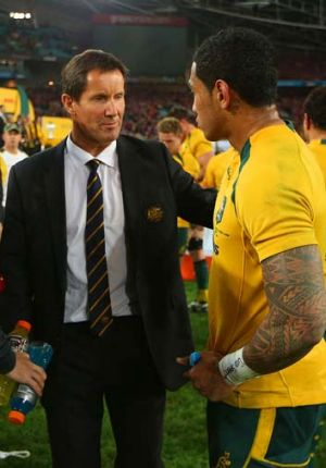 Robbie Deans chats to Joe Tomane after the match.