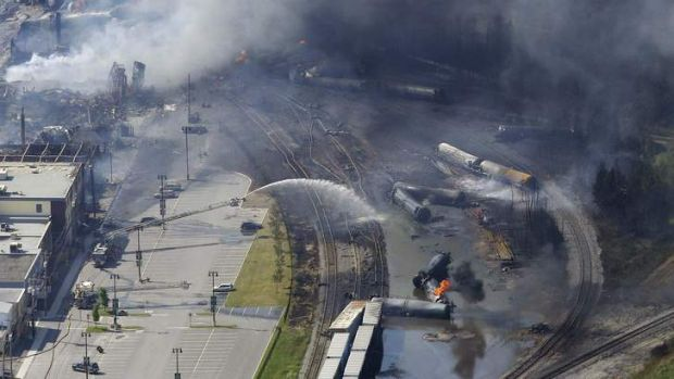 The wreckage of a train is pictured after an explosion in Lac Megantic, Quebec that destroyed dozens of buildings.