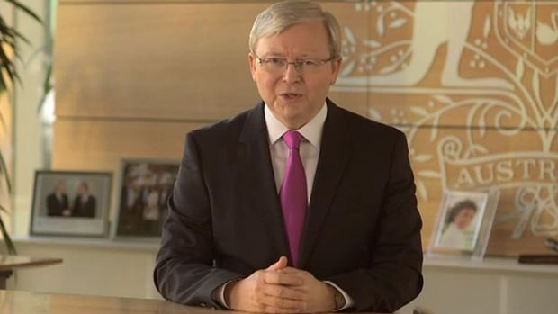 Kevin Rudd's ad has been posted on YouTube ahead of television screenings.