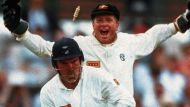 Bamboozled: Australian wicket keeper Ian Healy celebrates as England's Mike Gatting is bowled by Shane Warne's 'Ball of ...