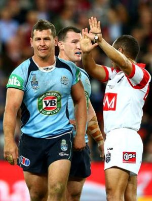 Greg Bird of the Blues is sent to the sin bin during game two of the ARL State of Origin series between the Queensland ...