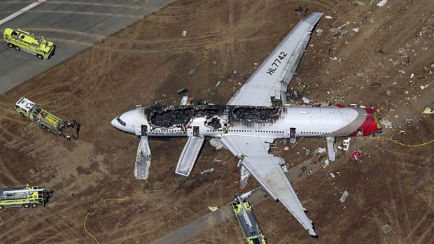 The plane crashed at San Francisco airport.