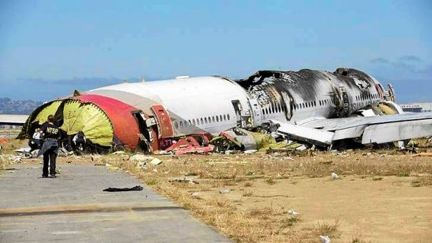 What remains of the fusilage of Asiana's Boeing 777 jetliner.