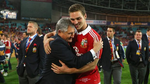 Best of British: Lions manager Andy Irvine celebrates with George North - one of 10 Welshmen in the Lions' starting side ...