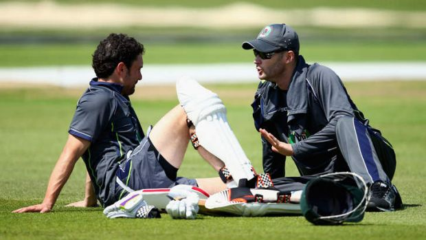 Last hope: Ed Cowan and Michael Clarke prepare for Wednesday's first Ashes Test at Nottingham.