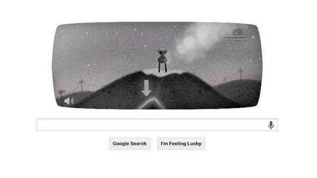 Google doodle celebrating the 66th anniversary of Roswell UFO sightings.