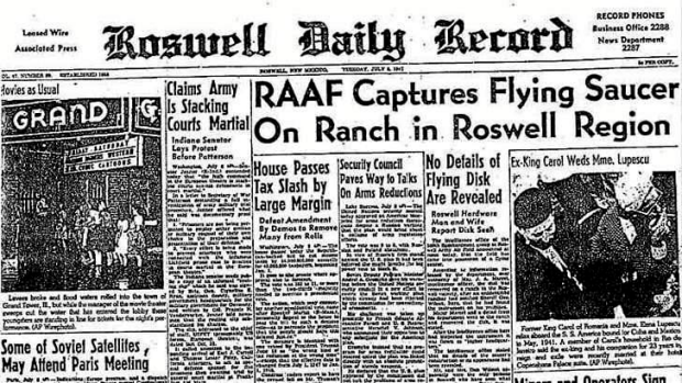 Front page of the Roswell Daily Record July 8 1947, alleging the RAAF captured a flying disk, or UFO, on a country ranch.