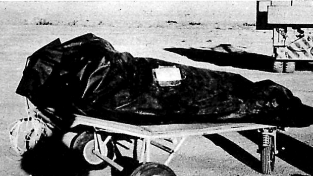 """Witnesses described this as """"body bags"""" used to recover alien victims from the crash of a flying saucer. Officials said ..."""